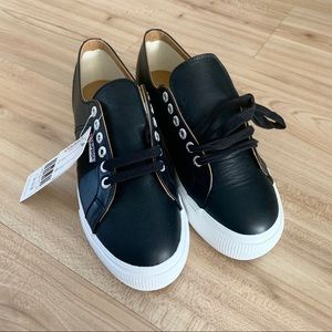 New Superga black leather sneakers